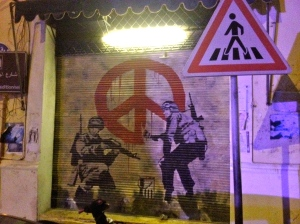our Banksy replica, Mar Mikhael