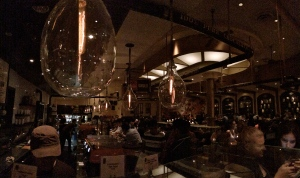 Max Brenner's, from behind the bar