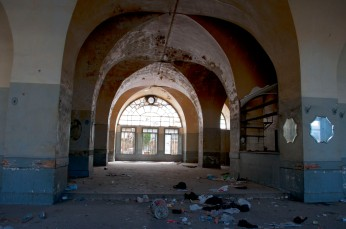 Inside an abandoned building near the main square